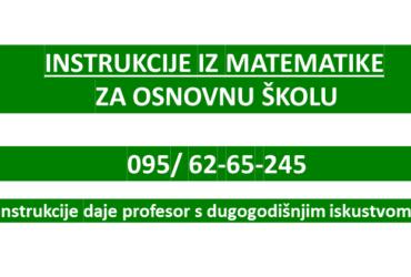 Instrukcije iz matematike- osnovna škola